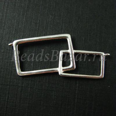 Коннектор прямоугольники серебро 925 пробы