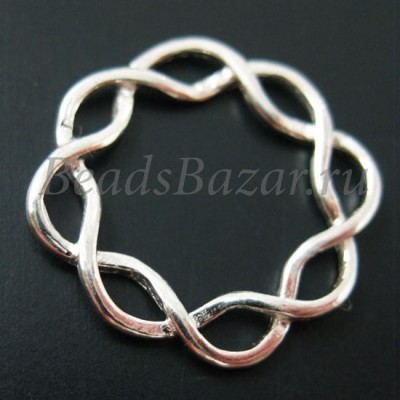 Коннектор кольцо плетеное 16 мм серебро 925 пр.