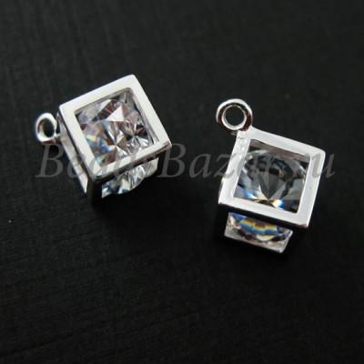Подвеска Куб с кристаллом серебро 925 пробы