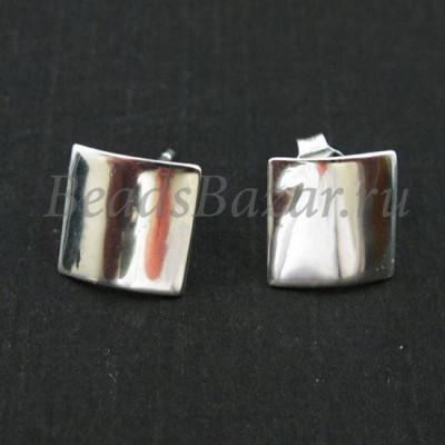 Швензы пуссеты квадрат гладкий серебро 925 пр.