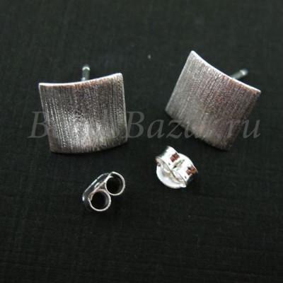 Швензы пуссеты квадрат фактурный серебро 925 пр.