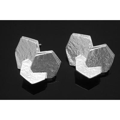 Швензы пуссеты шестиугольник, родиевое покрытие
