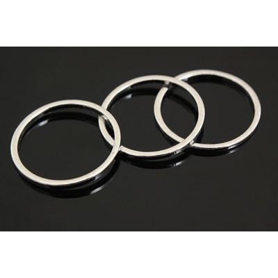 Коннектор кольцо 15 мм, глянцевое родиевое покрытие