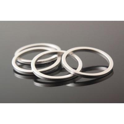 Коннектор кольцо 16 мм, матовое родиевое покрытие