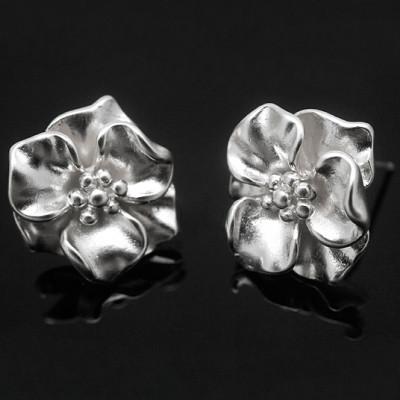 Швензы пуссеты цветок, родиевое покрытие