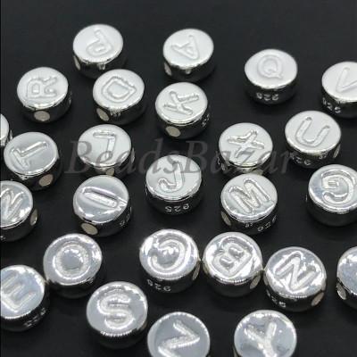 Бусины буквы серебро 925 пр.