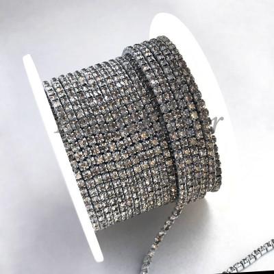 Стразовая цепь 2 мм (серый)
