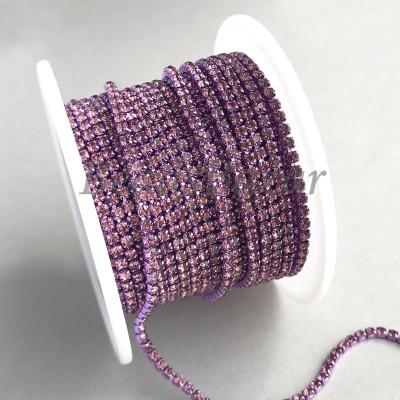Стразовая цепь 2 мм (сиреневый)