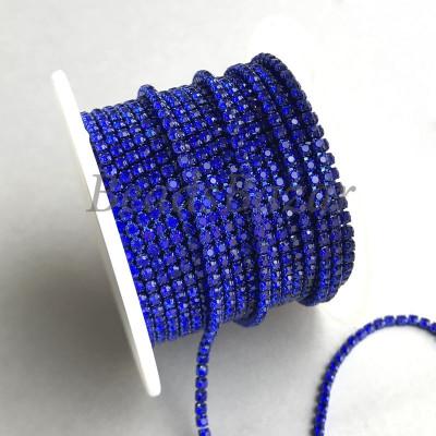 Стразовая цепь 2 мм (сапфир)