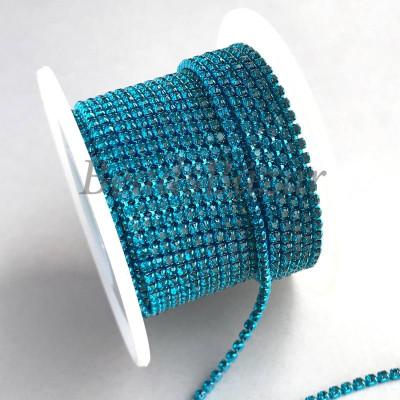 Стразовая цепь 2 мм (бирюза)