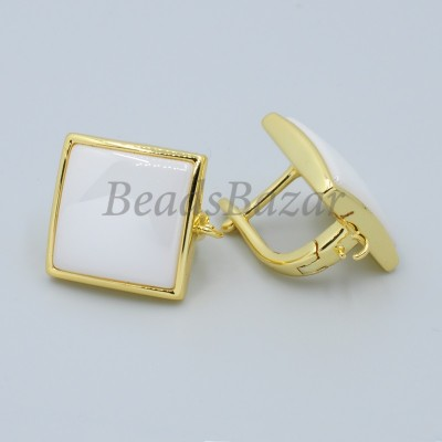 Швензы Квадрат с белой керамикой, золото