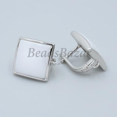 Швензы Квадрат с белой керамикой, серебро