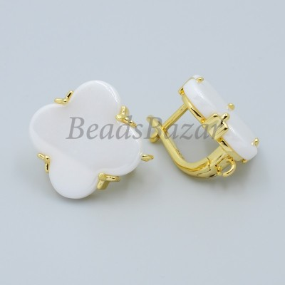 Швензы Ван Клиф с белой керамикой, золото
