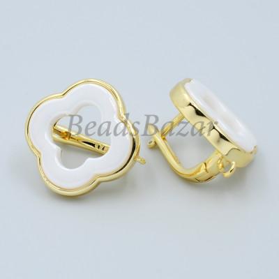 Швензы Ван Клиф 18 мм с белой керамикой, золото