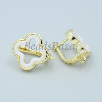 Швензы Ван Клиф 15 мм с белой керамикой, золото