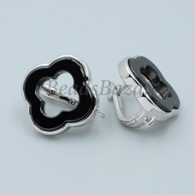 Швензы Ван Клиф 18 мм с черной керамикой, серебро