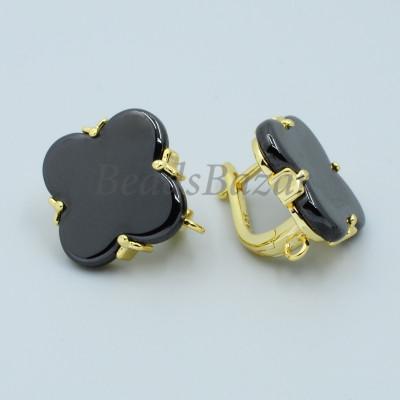 Швензы Ван Клиф с черной керамикой, золото