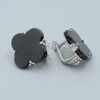 Швензы Ван Клиф с черной керамикой, серебро