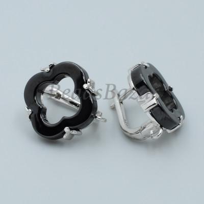 Швензы Ван Клиф 16 мм с черной керамикой, серебро