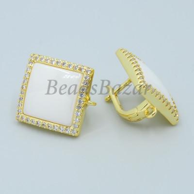 Швензы Квадрат с белой керамикой и фианитами, золото