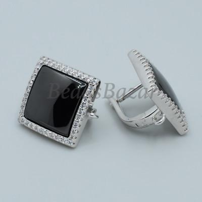 Швензы Квадрат с черной керамикой и фианитами, серебро