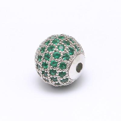 Бусина с фианитами (зеленый/серебро)