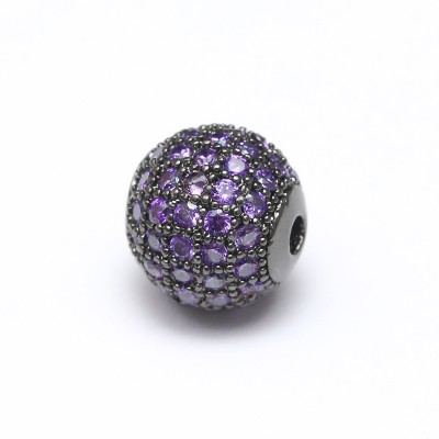 Бусина с фианитами (фиолетовый/черый)